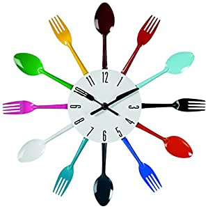 Out of the blue 79 / 3138 Metal Wall Clock-Coloured Cutlery