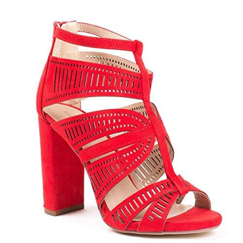 Ideal Shoes Sandales Ajourées Effet Daim à Talons Naya Rouge