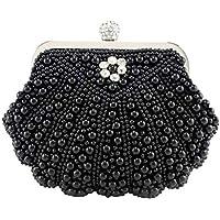BESTOYARD Bolso de noche bolso de la perla embragues de la boda Bolsas de banquete de fiesta para mujeres niñas (negro)