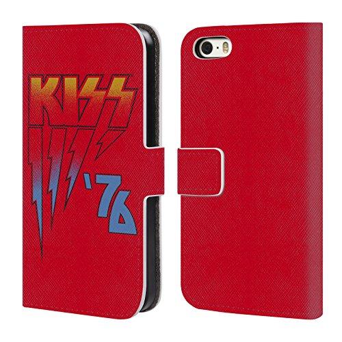 Ufficiale KISS Army Logo Cover a portafoglio in pelle per Apple iPhone 4 / 4S 1976