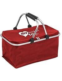 Bolsa - cesta grande para la compra, la playa el camping o picnic estable, ligera, plegabe MY basket TO go con cierre, varillas reforzadas de aluminio, fácil de limpiar - con cómodas asas plegables