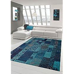 Tapis Contemporain Design Tapis Oriental Salon Tapis avec Motif en Bleu Turquoise Größe 200 x 290 cm