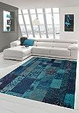 Moderner Teppich Designer Teppich Orientteppich Wohnzimmer Teppich mit Karo Muster in Türkis Blau Größe 80x150 cm