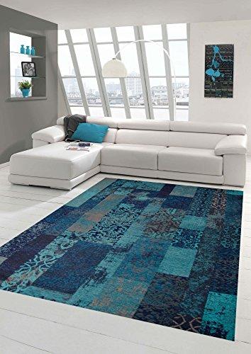 igner Teppich Orientteppich Wohnzimmer Teppich mit Karo Muster in Türkis Blau Größe 160x230 cm ()