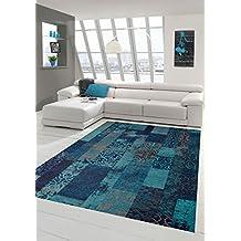 tapis contemporain design tapis oriental salon tapis avec motif en bleu turquoise gre 160x230 cm - Tapis De Salon Bleu