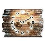 Kreative Feder Steg Sonnenuntergang Shabby Style Designer Wanduhr Funkuhr aus Holz *Made in Germany leise ohne Ticken WH019FL