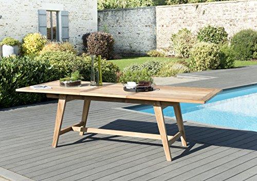 MACABANE 501220 Table rectangulaire Scandi Extensible 180/240x100cm Couleur Naturelle en Teck Dimension 180/240cm X 100cm X 75cm