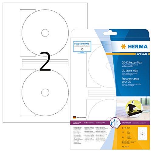 Herma 5115 CD DVD Etiketten blickdicht (Ø 116 mm, Innenloch klein) weiß, 50 Aufkleber, 25 Blatt DIN A4 Papier matt, Zentrierhilfe, bedruckbar, selbstklebend
