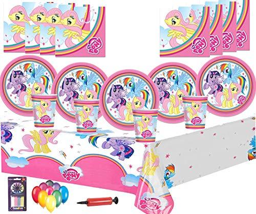 My Little Pony Party Supplies Fiesta de cumpleaños Decoraciones para vajilla 16 Guest Pack -Platos, copas, servilletas, manteles Globos gratis