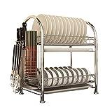 WYQ Geschirrkorb für geschirrspüler Geschirrtrockner 2 Tier, Edelstahl Geschirrablagenhalter, Küchengestell mit Stäbchenhalter und Tray-Küchenhalter (größe : 43cm × 26cm × 45cm)