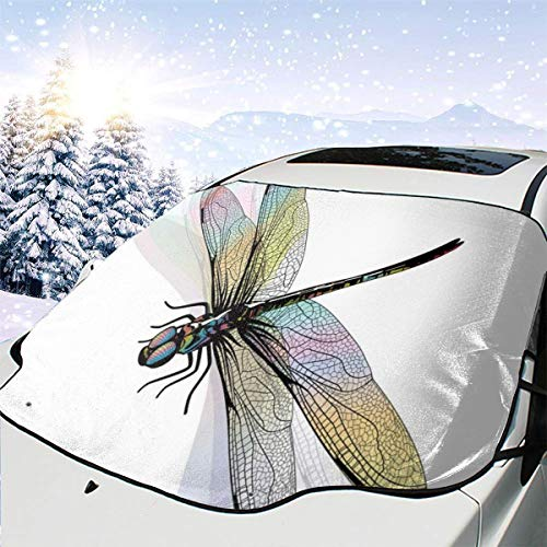 New Shorts Shady Dragonfly Pattern with Ornate Lace Style Ancient Beauty Wings Design Car Front Windshield Cover Foldable Sunshade Fits Most Cars, Trucks, SUV's -