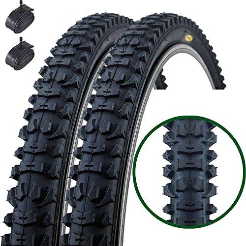 Paar Fincci MTB Mountain Hybrid Bike Fahrrad Reifen 26 x 1.95 54-559 und Autoventil Schläuche 48mm