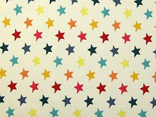 Minerva Crafts Strickstoff Seong Stars Print, Stretch, Jersey, Meterware, cremefarben -