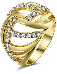 YAZILIND aniversario joyería de 18 quilates chapado en oro cúbicos brillantes zirconia carnaval compromiso anillo de