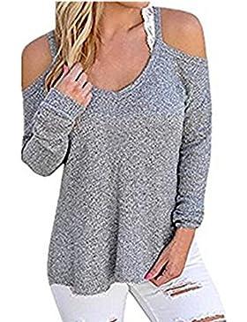 Sueltas hueco de las mujeres hacia fuera blusa Top suéter hecho punto