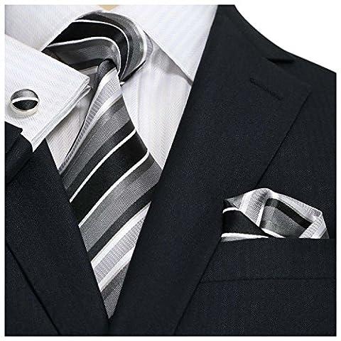Landisun 42N Stripes Hommes Soie Cravate Ensemble Noir Gris Blanc, 3.75