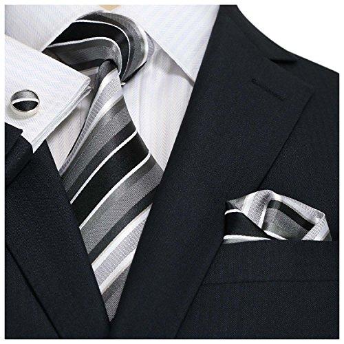 Landisun Stripe Hommes Soie Cravate Ensemble 42N Noir Gris Blanc