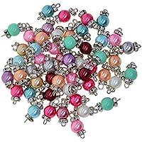 Baoblaze 50 Pièces Perles de Verre en Strass Rondelle Pendentifs Breloques pour Bracelet Création Bijoux Boucles d'oreilles Bricolage DIY - Blanc k, comme décrit