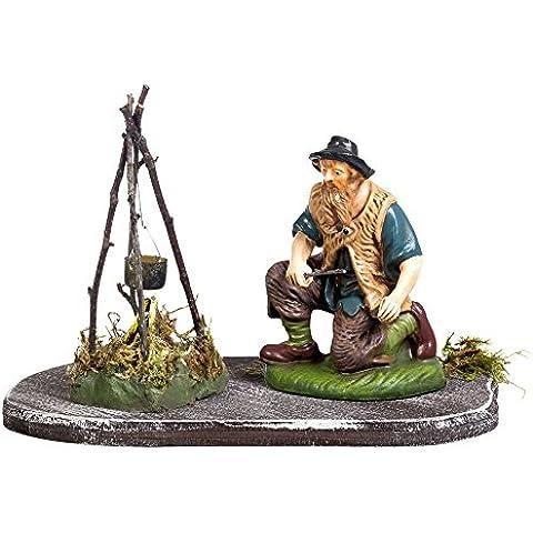 Por la fogata - 1 figura con fogata + decoración de madera de la isla, 4,75 en. Figuras - Figuras de belén alemán hecho a