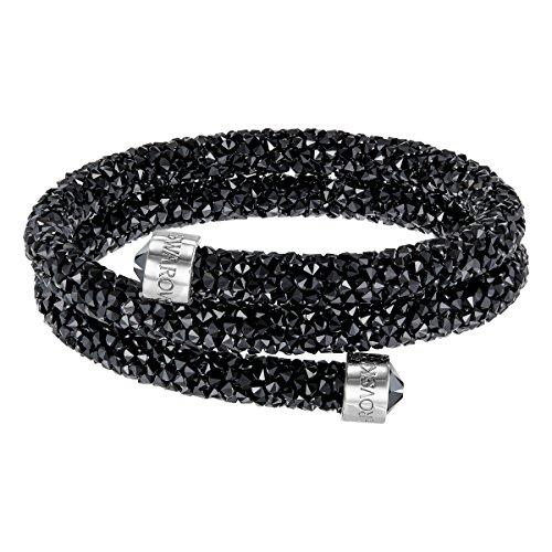 Swarovski Brazalete Crystaldust Double, Negro, Acero Inoxidable