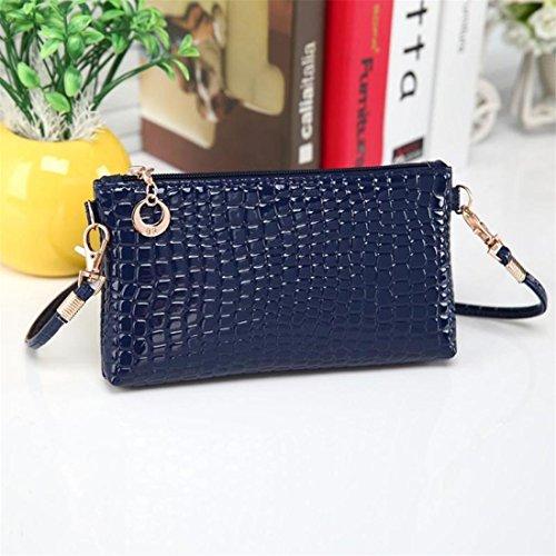 Brezeh Damen-Handtasche Umhängetasche Clutch Krokodil-Leder Cross-Body-Bags Einheitsgröße blau