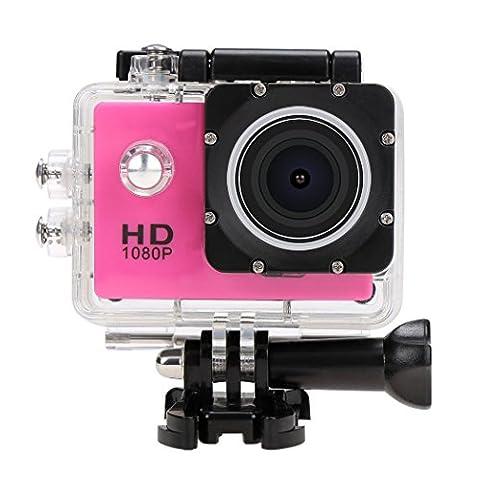 Hikenn HD Action Kamera 1080P Sports Kamera Wasserdicht 170 Weitwinkel-Objektiv mit Zubehor Kits fur Fahrrad Motorrad Tauchen Schwimmen Pink