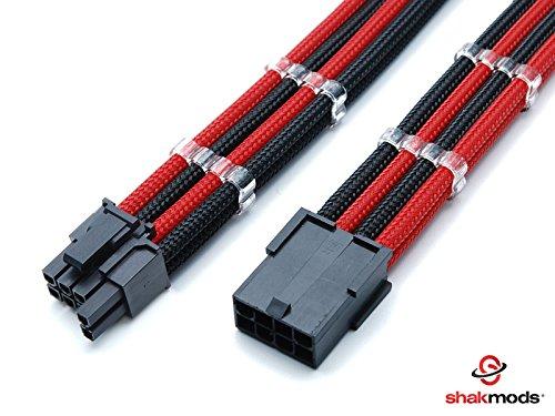 Shakmods PCIE-GPU-Grafik-Verlängerungskabel, 6+2-polig, rot und schwarz, schrumpft bei Hitze nicht, geschirmt, mit 2 Kabelkämmen, 30 cm -
