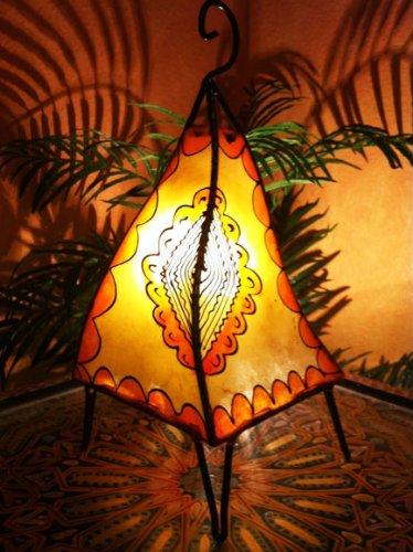 ampe Hafa 38cm Lederlampe Hennalampe Lampe | Marokkanische kleine Tischlampen aus Metall, Lampenschirm aus Leder | Orientalische Dekoration aus Marokko, Farbe Orange, Natur (Orientalische Hochzeit)