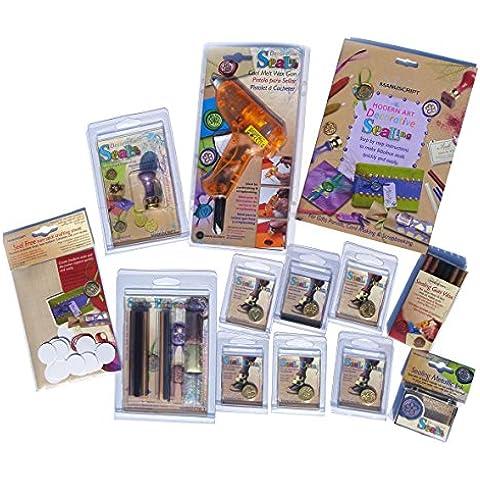 Manuscript Pen Company sigillo di cera con cera pistola/Guarnizione maniglia, 6motivi assortiti sigillo Coin/bastoncini di cera e accessori
