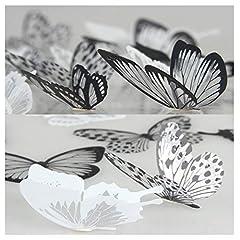 Idea Regalo - Lisdripe, adesivi da parete a forma di farfalla 3D, design per la decorazione della casa fai da te, decorazione per muri, finestre, stanza dei bambini, decalcomanie artistiche, adesivi da parete, 36pezzi, bianco e nero