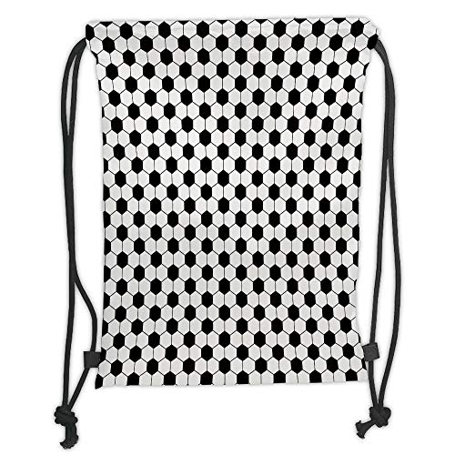 string Backpacks Bags,Soccer,Abstract Football Ball Pattern Monochrome Geometric Design Sports Fun Activity Decorative,Black White Soft Satin,5 Liter Capacity,Adjustable String ()