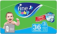 Fine Baby Diapers, DoubleLock Technology , Size 3, Medium 4–9kg, Economy Pack. 36 diaper count