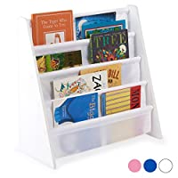 Hartleys Childrens Fun White Wooden Bookshelf - Choice of Fabric Colour
