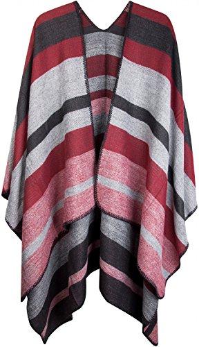 styleBREAKER Poncho mit Streifen Muster, Überwurf Cape, Wendeponcho, Damen 08010009, Farbe:Schwarz-Grau-Rot