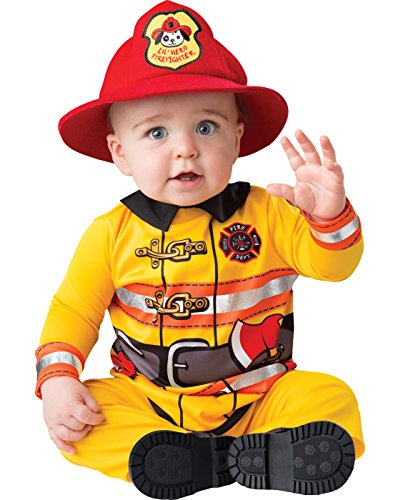 InCharacter Baby Fearless Firefighter Costume, Yellow/Red, Large