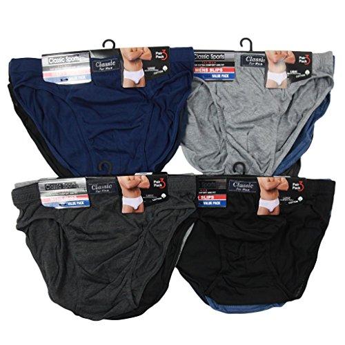 Mens 12pairs Cotton Blend Designer Classic Briefs Slips Underwear Hosiery Pants Underpants Size S-5xl