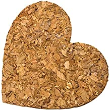 Mopec Corazón con Adhesivo, Corcho, Marrón, 3x6x5.5 cm, 18 Unidades
