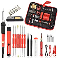 Soldering Iron Kit, Womdee 22pcs Electronics Soldering Iron Tool with 60w 220v Adjustable Temperature Welding Iron, 5pcs Soldering Tips, Desoldering Pump, Soldering Iron Stand, Tweezers in Bag