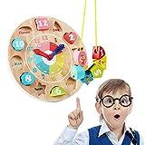 AOLVO Kinderuhr Wand Uhr Mathematik - 16er Set Holz Kinderwanduhr