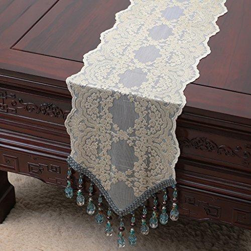 QiangZi Table Runner Bleu Perle Chaîne Multi Glands Nappe Ajourée De Luxe Napperon De Mariage Décoratif, 30 * 250 CM ( Couleur : Style4 , taille : 30*180cm )