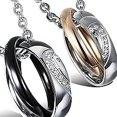 Idea Regalo - Oidea Collana per coppia Lovers collana in acciaio inox pendente anello puzzle cuore mosaico zircone regalo per Amante argento oro(1 coppia)