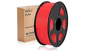 Filamento PLA Plus de la impresora SUNLU 3D, filamento PLA de 1.75 mm, filamento de impresión 3D de bajo olor, precisión dimensional +/- 0.02 mm, filamento 3D del carrete 3D,rojo PLA +