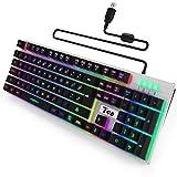Zenoplige Gaming Tastatur Mechanische, Bunte LED Beleuchtung Gaming Tastatur mit USB-Kabel, Schneller, Präziser PC Keyboard für Gamer, Maschinenschreiber(T98-K2)