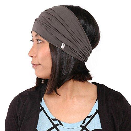 Casualbox Herren elastisch Bandana Stirnband Headband Japanisch lang Haar Dreads Kopf wickeln anthrazit