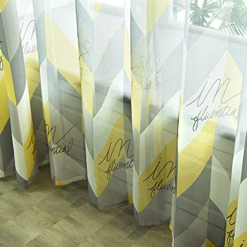 ZYY-Home curtain Blickdichte Gardinen Geometrie Wärmeisolierend Drucken mit Ösen Bunte Moderne Einfachheit für Wohnzimmer Schlafzimmer Grau Gelb Vorhang 2 Panels,Voile,W100xL250cm (Und Gelb-vorhang-panels Grau)