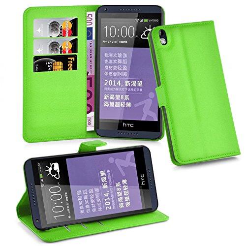 Cadorabo Hülle für HTC Desire 816 - Hülle in MINZ GRÜN – Handyhülle mit Kartenfach und Standfunktion - Case Cover Schutzhülle Etui Tasche Book Klapp Style