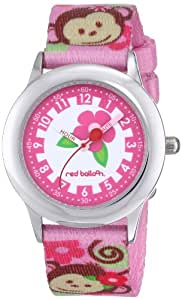 Red Balloon Red Balloon Pretty Girl Monkey Kid's Stainless Steel Time Teacher children's quartz Watch with white Dial analogue Display and pink fabric Strap W000335