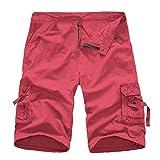 GreatestPAK Pants Cargo Männer Shorts Casual Reine Farbe Im Freien Tasche Strand Arbeit Hosen Hose, Rot,30