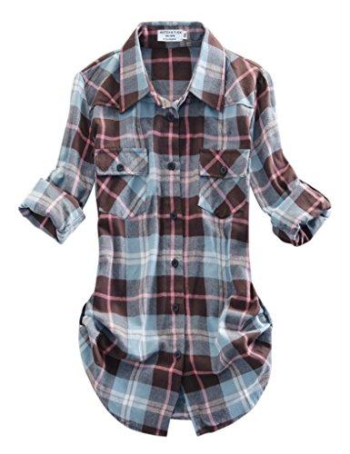 Match Mujer Camisa Tartán Franela #B003(2021 Checks#13,Medium)