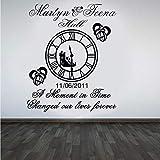 Anillos Decoración del reloj Etiqueta de la boda Nombre personalizado Fecha Boda Winyl Etiqueta Mural de pared impermeable Poster Diy 57X69Cm